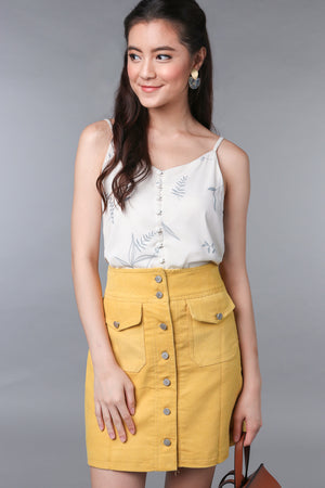 Backorder* Leafy Button Camisole in White
