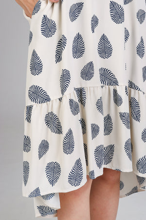 Shaka Leafy Diphem Dress in Navy