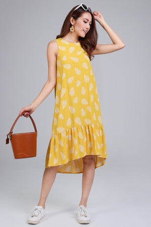 Shaka Leafy Diphem Dress in Yellow