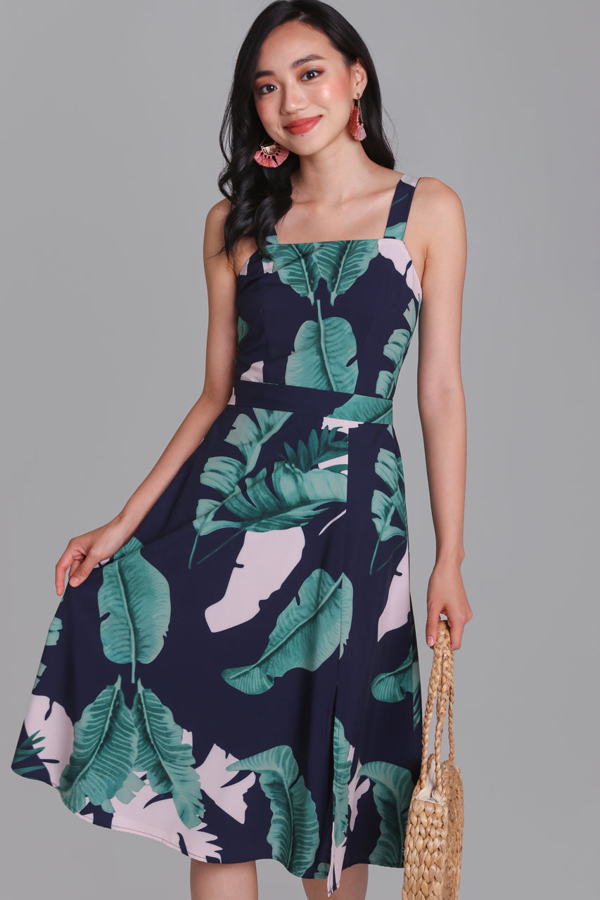 Jungle Book Square Neck Dress in Navy