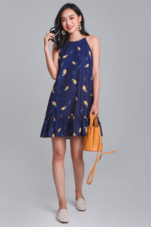 Restocked* Lemonade Cut-In Dress in Navy