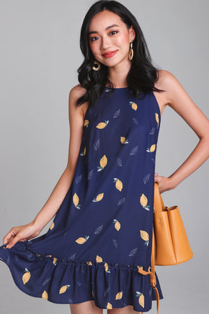 Lemonade Cut-In Dress in Navy