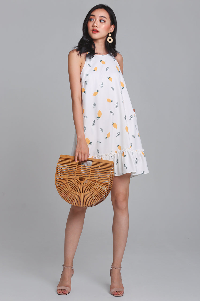 Restocked* Lemonade Cut-In Dress in White