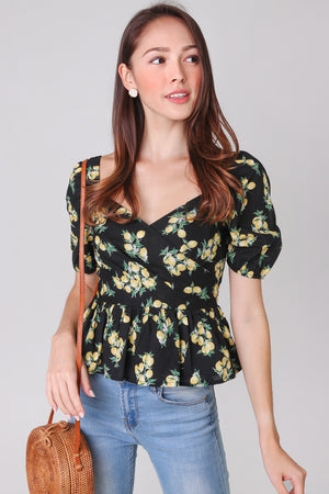 Lemons Peplum Top in Black
