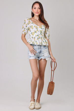 Lemons Peplum Top in White