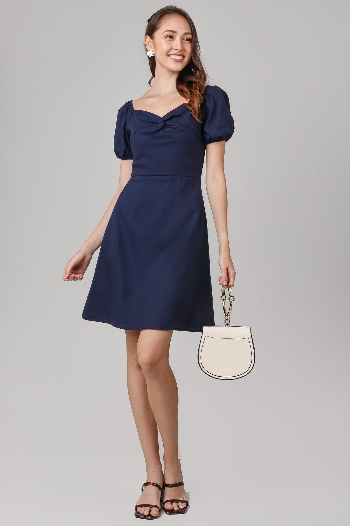 Lilith Puffy Sleeve Dress in Navy