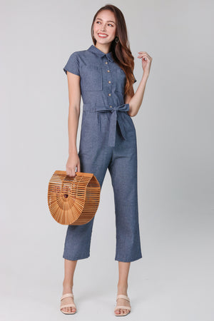 Linen Button Jumpsuit in Blue