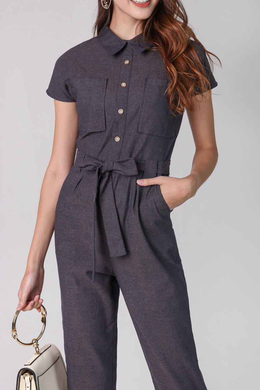 Linen Button Jumpsuit in Grey