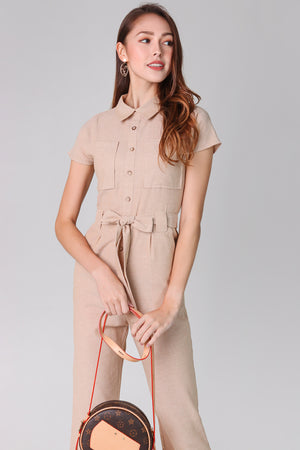 Linen Button Jumpsuit in Khaki