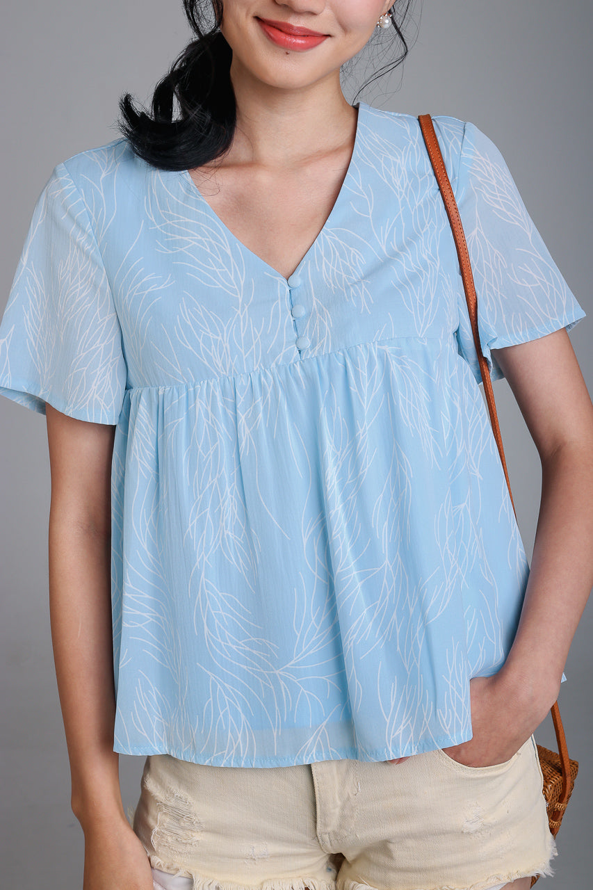 Lines Button Babydoll Top in Sky