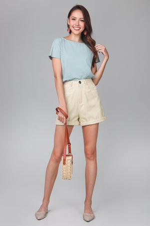 Longline Cuff Shorts in Cream