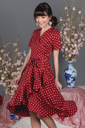 Restocked* Mamamia Polkadot Wrap Dress in Red