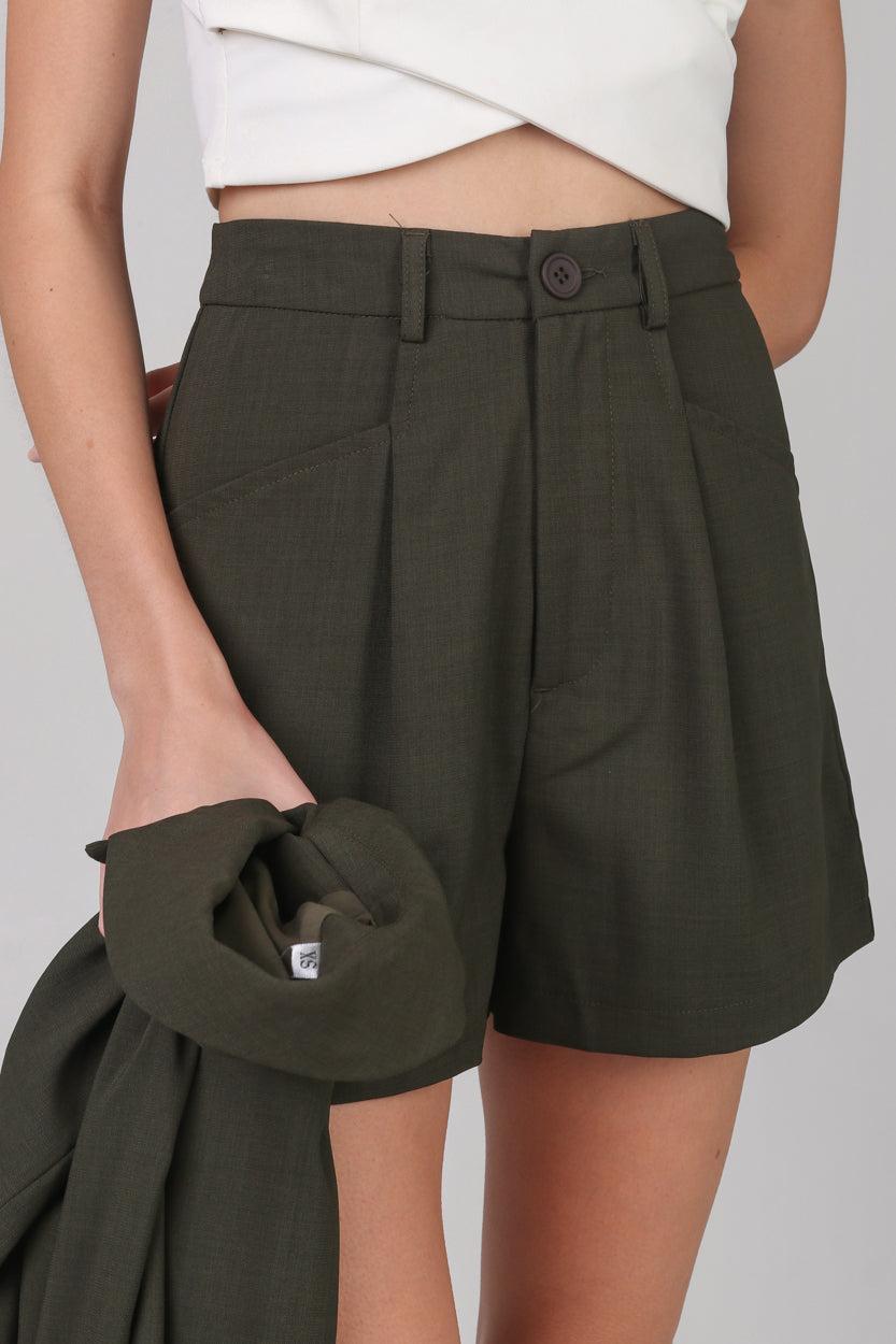 Backorder* Chelsea Tailored Shorts in Olive