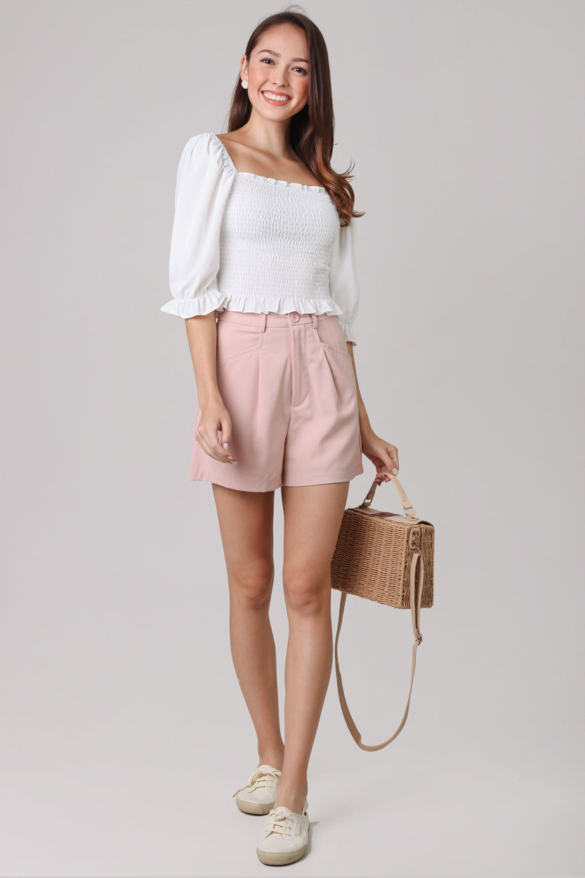 Backorder*Chelsea Tailored Shorts in Nude Pink