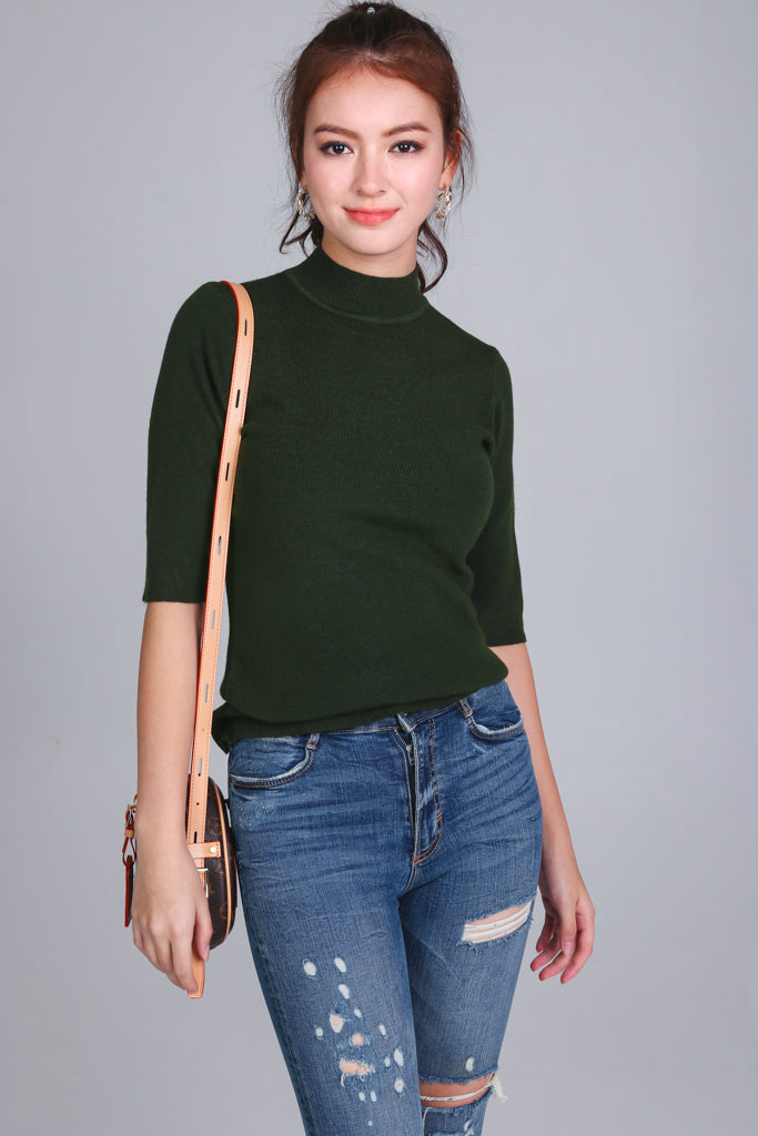Restocked* Mid-sleeve Turtleneck Top in Forest