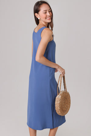 Everyday Midi Dress in Dusty Blue (2-Way)