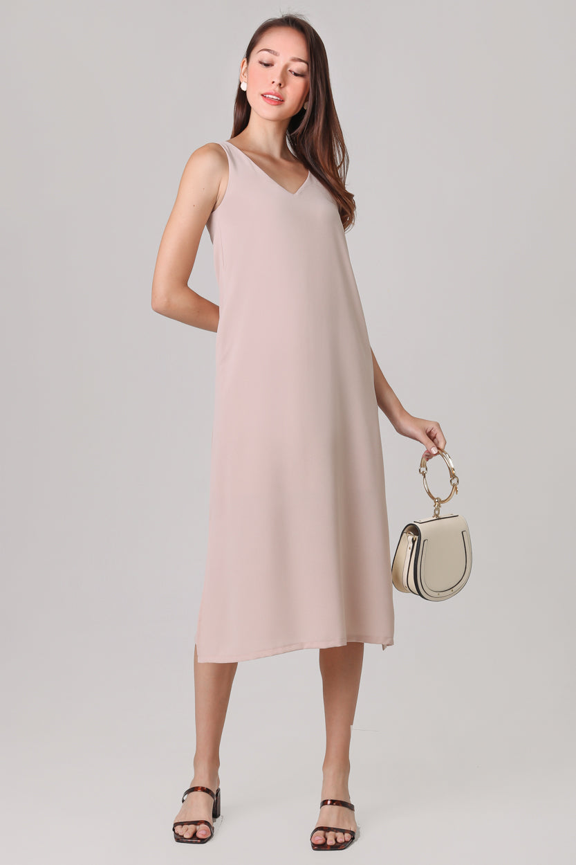 Restocked* Everyday Midi Dress in Sand (2-Way)
