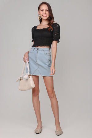 Backorder* Mikaela Denim Skirt in Light Wash
