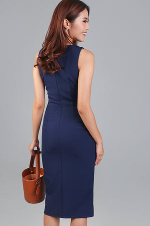 Monday Meeting Fitted Dress in Navy