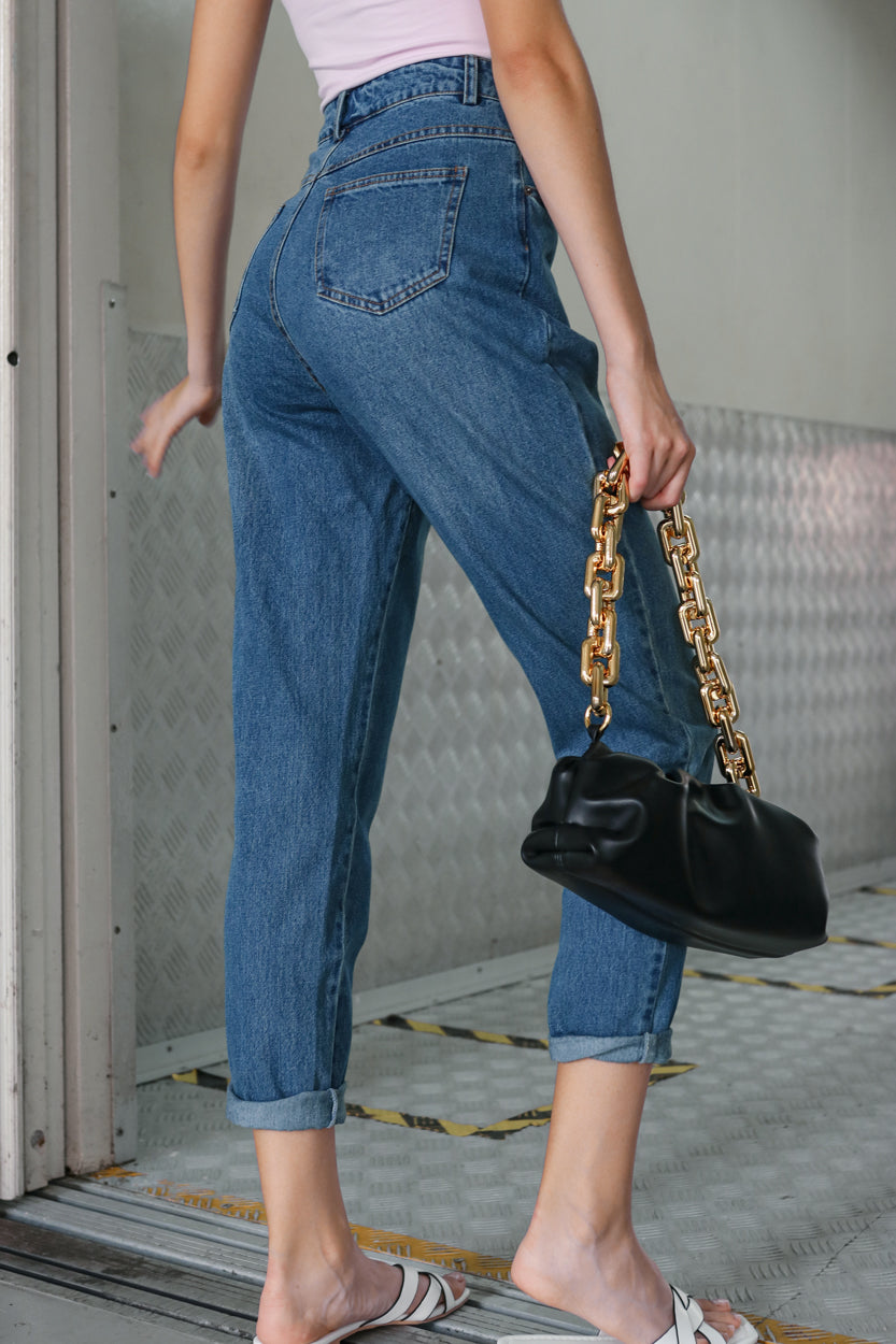 Restocked* Mum Jeans in Dark Wash