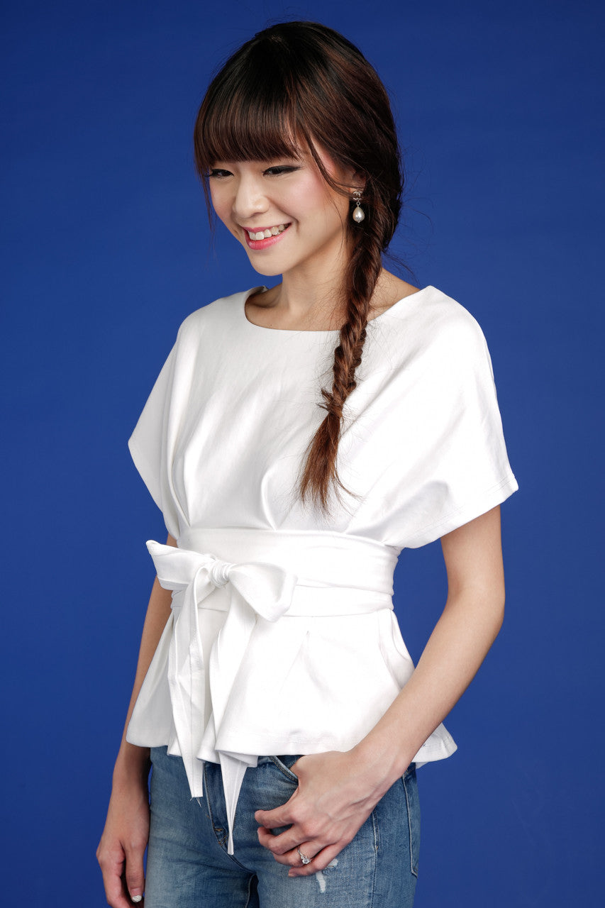 Restocked* Aiko Obi Blouse in White