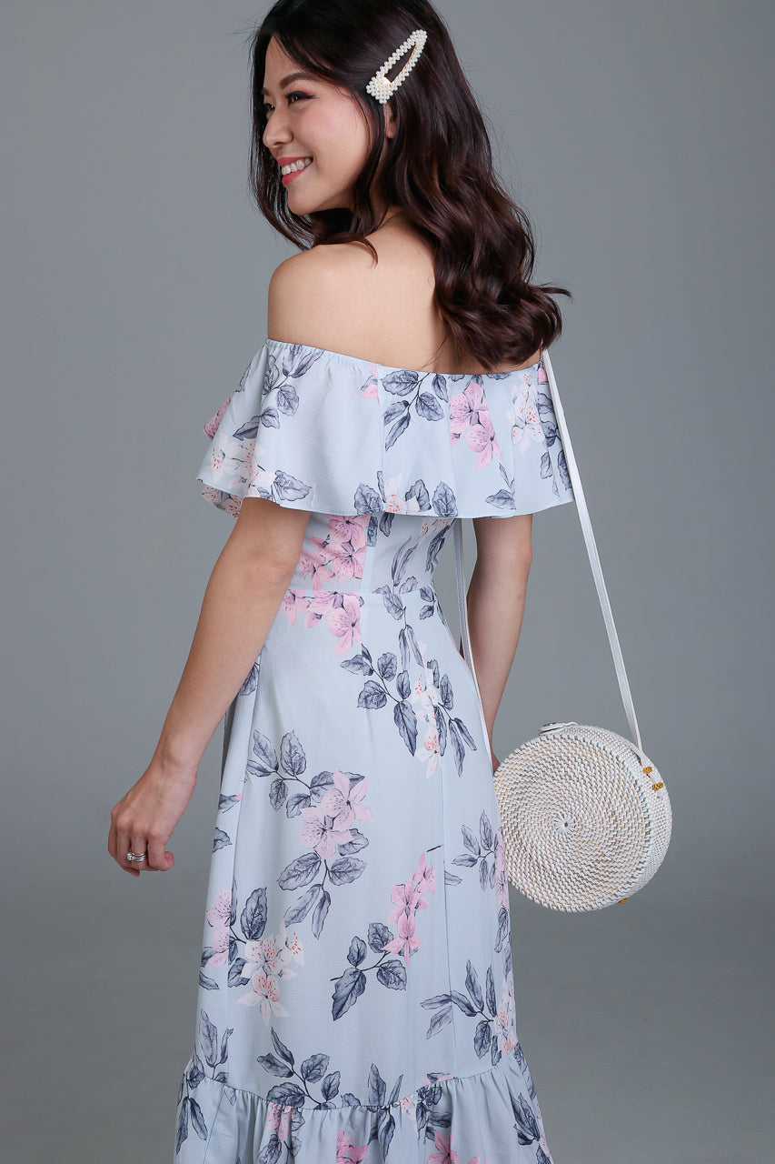 Janessa Floral Off-Shoulder Dress in Grey