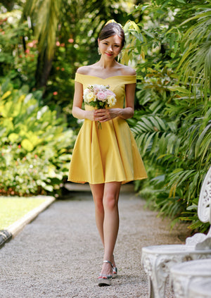 Restocked* Arianna Off-Shoulder Dress in Yellow