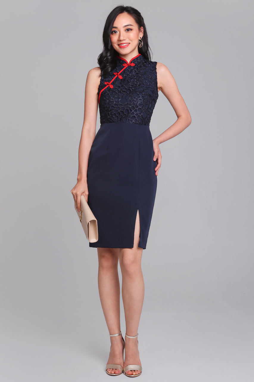 Opulence Lace Cheongsam Dress in Navy