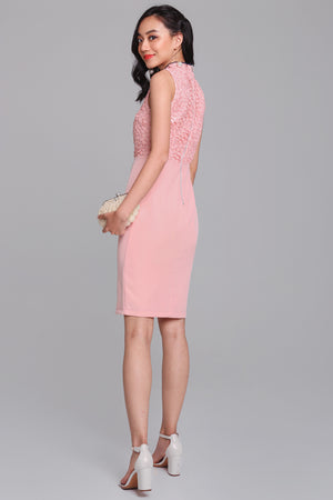 Opulence Lace Cheongsam Dress in Pink