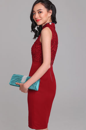 Opulence Lace Cheongsam Dress in Wine