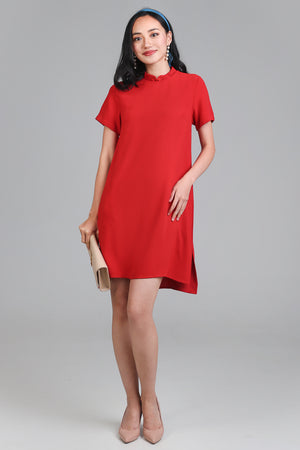 Oriental Collar Tee Dress in Red (2-Way)