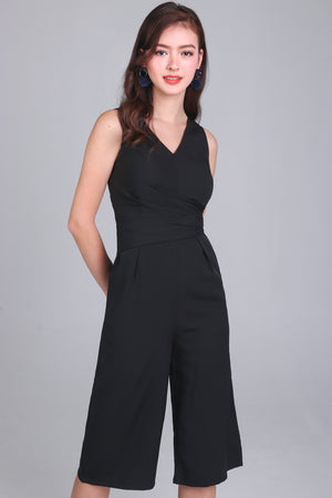 Cross-Over Jumpsuit in Black