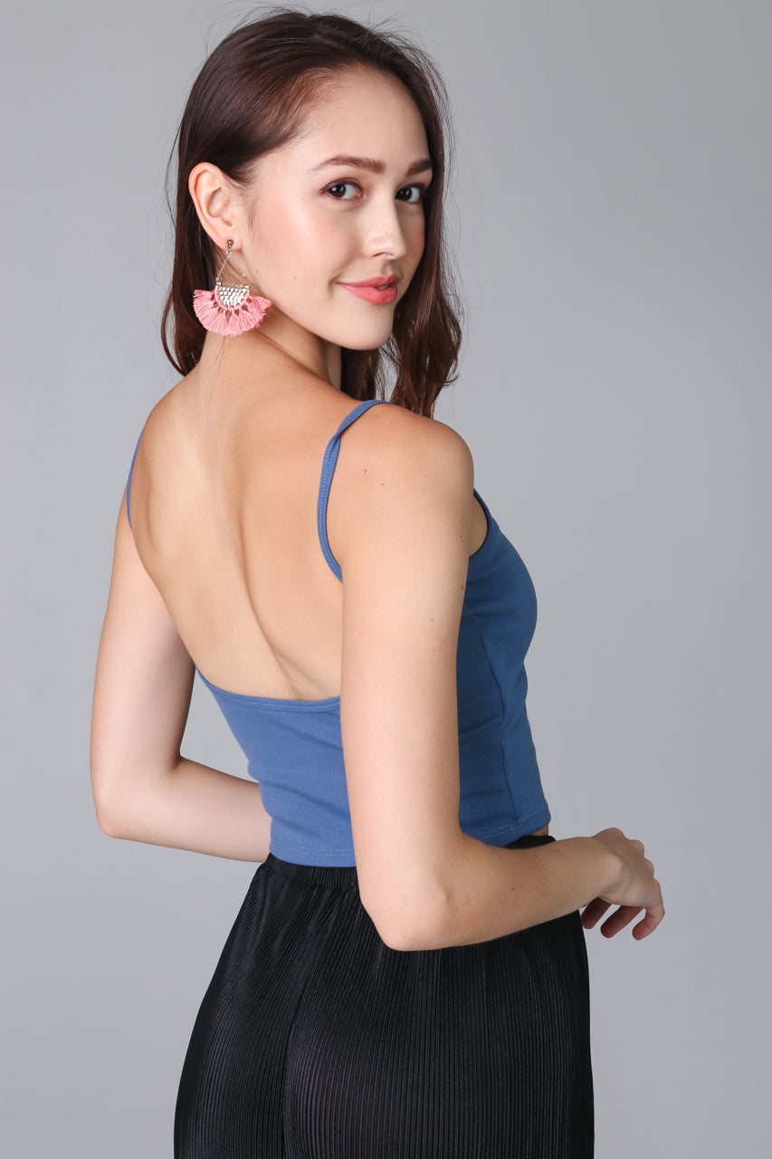 Backorder* Padded Cami Top in Blue