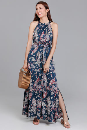 Bohemian Rhapsody Maxi Dress in Blue