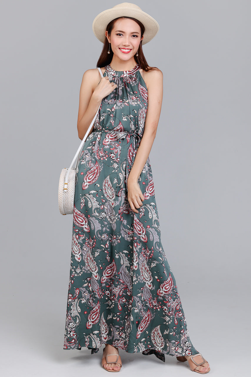 Bohemian Rhapsody Maxi Dress in Jade