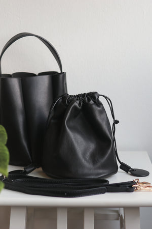 Pre-order* Freda Mini Bucket Bag in Black