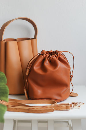 Freda Mini Bucket Bag in Mustard