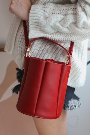 Pre-order* Freda Mini Bucket Bag in Red