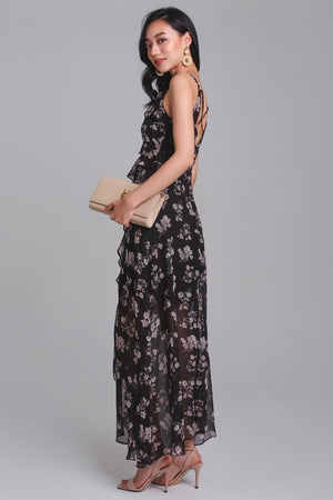 Santorini Sunrise Ruffle Maxi in Black