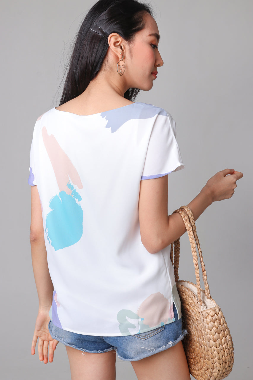 Contemporary Art Tee Top in White