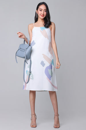 Contemporary Art Dress in White (Reversible)
