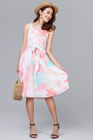 Peaches & Cream Abstract Skater Dress