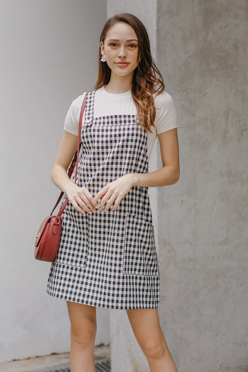Caroline Pinafore Dress in Checkered
