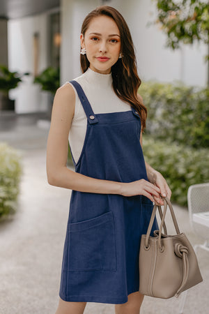 Caroline Pinafore Dress in Navy