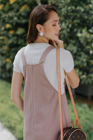 Caroline Pinafore Dress in Mauve