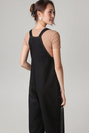 Leanne Pinafore Jumpsuit in Black