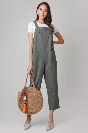 Leanne Pinafore Jumpsuit in Olive