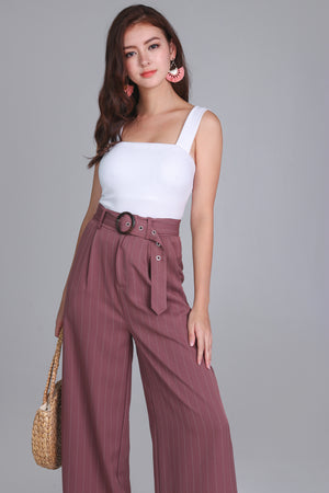 Pinstriped Palazzo Pants in Mauve