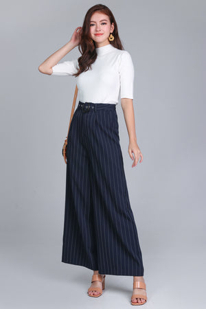 Pinstriped Palazzo Pants in Navy