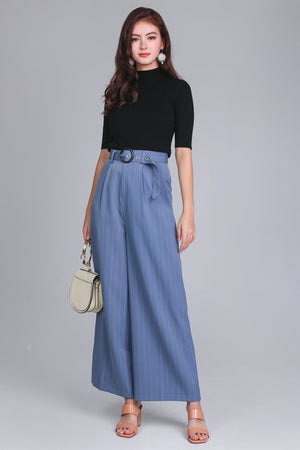 Pinstriped Palazzo Pants in Periwinkle